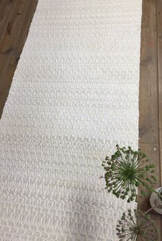 Modern rustic rag rug. Ivory white cotton rug hand made by MareMaa