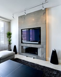 Architizer is the largest database for architecture and sourcing building produc. - Architizer is the largest database for architecture and sourcing building products. Home of the A+A - Fireplace Tv Wall, Fireplace Design, Wall Tv, Fireplace Ideas, Fireplace Feature Wall, Tv Feature Wall, Mantel Ideas, Living Room Tv, Living Room With Fireplace