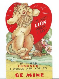 """""""Cowardly Lion"""" from the motion picture The Wizard of Oz vintage die-cut Valentine, licensed by Loew's Incorporated."""
