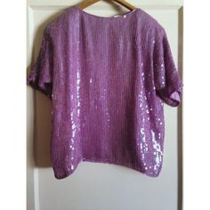 Vintage Lilac Sequin Shirt Gorgeous lilac purple shirt.   Fully lined   Covered in sequins   Size Large -   J.L.B. (Paris Hong Kong New York )  100% pure Silk with Polyester lining    Any questions on this beautiful piece message me. Tops Blouses