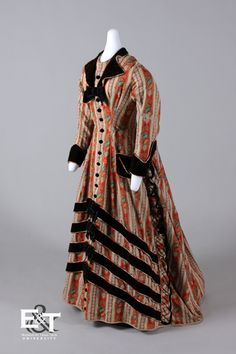 Brick and Beige Striped Paisley with Brown Velvet Trim Dress, 1875-1876