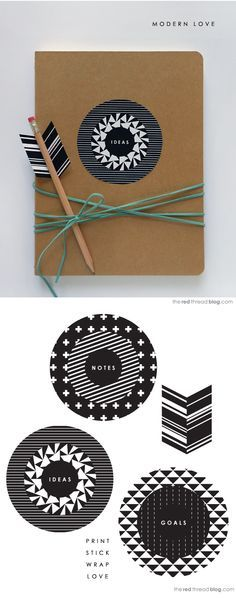 """Notebook (and pencil arrow) from Lisa at The Red Thread - with free printables <a href=""""http://www.theredthreadblog.com/valentines-day-printable-not-a-heart-in-sight"""" rel=""""nofollow"""" target=""""_blank"""">www.theredthreadb...</a>"""