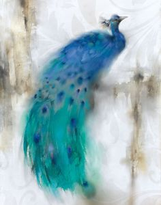 Tangletown Fine Art Jewel Plumes I by J. Prior Fine Art Giclee Print on Gallery Wrap Canvas, 16 x 24 Framed Art Prints, Painting Prints, Framed Artwork, Fine Art Prints, Paintings, Framed Wall, Peacock Art, Peacock Feathers, Canadian Art