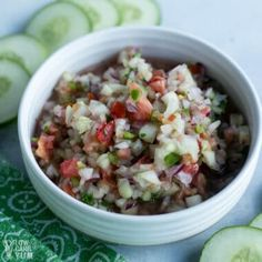 Add this cucumber salsa recipes to your collection of keto appetizer recipes! It goes great with Mexican foods and tortilla chips. Keto Cucumber Recipe, Keto Salsa Recipe, Cucumber Salsa, Fries Recipe, Raw Food Recipes, Mexican Food Recipes, Appetizer Recipes, Keto Recipes, Appetizers