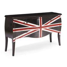 Union Jack Large Cabinet Distressed Black | Home Furniture»SHOP BY ROOM»BEDROOM»DRESSERS