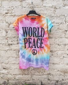 Hippie Tie Dye Festival Shirt Rainbow World Peace Tumblr Hipster Music Festival Trippy Psychedelic Tshirt to fit UK size 10 US size 6