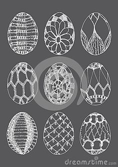 Illustration about White on grey background crochet easter eggs file. Illustration of pretty, drawn, easter - 38168611 Easter Crafts, Christmas Crafts, Christmas Decorations, Crochet Stone, Knit Crochet, Crochet Angels, Easter Crochet, Easter Eggs, Free Pattern