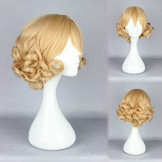 Short Deep Curly Noblest Gold Fashion Lolita Cosplay Wig