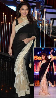 The addition of off-white lace to the black makes a simple saree look stunning. Bollywood Dress, Bollywood Fashion, Bollywood Style, Ethnic Fashion, Indian Fashion, Indian Dresses, Indian Outfits, Madhuri Dixit Hot
