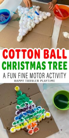 Rainbow Cotton Ball Christmas Tree Activity - HAPPY TODDLER PLAYTIME Rainbow Christmas Tree, Diy Felt Christmas Tree, Christmas Arts And Crafts, Santa Crafts, Xmas Crafts, Christmas Ideas, Merry Christmas, Christmas Ornaments, Craft Activities For Toddlers