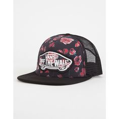 Vans Beach Girl Womens Trucker Hat ($20) ❤ liked on Polyvore featuring accessories, hats, snapback hats, floral print snapback hat, floral snapback hat, beach hats and patch hat
