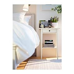 IKEA - HEMNES, Nightstand, black-brown, , Smooth running drawer with pull-out stop.Made of solid wood, which is a durable and warm natural material.