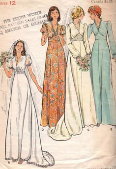 Vintage Wedding Dress Pattern. This looks very similar to the pattern i used for my wedding dress that my mother in law made for me in 1977.