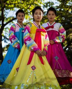 Mihaela wants to eventually use her photos to create The Atlas Of Beauty. Pictured: Three women wear traditional dress in Sinuiju