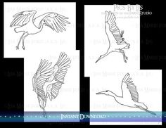 Storks Coloring Pages Set 4 Printable by DownontheFarmStudio