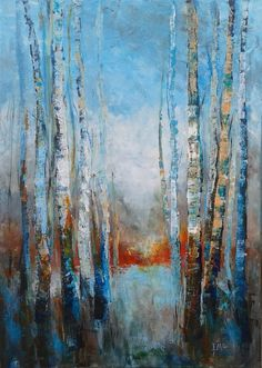 Buy TREES STORIES, dramatic birches trees landscape blue turquoise, Acrylic painting by Emilia Milcheva on Artfinder. Discover thousands of other original paintings, prints, sculptures and photography from independent artists. Abstract Tree Painting, Acrylic Painting Canvas, Abstract Canvas, Canvas Art, Abstract Trees, Buy Canvas, Painting Art, Tree Story, Picasso Art