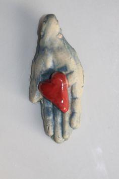 Ceramic Pendant Handmade Heart in Hand art pendant by potterygirl1,