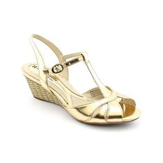 Naturalizer Holt Womens Size 7 Gold Narrow Synthetic Wedge Sandals Shoes $45