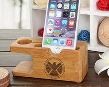 SHIELD S.H.I.E.L.D. Natural Wood iPhone Docking Station Apple Watch Dock, Captain America, Thor, Iron Man, Agents of Shield iWatch Holder
