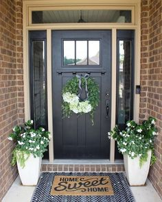 101 Easy And Simple Spring Front Porch Decoration Ideas - The initial thing your guests see when calling is likely the front porch; the foremost way to produce a lively welcome during the springtime is with a. Door Design, Farmhouse Front Porches, House With Porch, Front Porch Decorating, House Exterior, Porch Design, Beautiful Front Doors, Porch Planters, Building A Porch