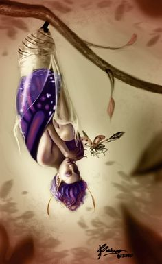 """The Sleeper Awakens"" by Brelynne Gunderson (aceoni) on DeviantArt. (fantasy art, fairy emerging from chrysalis) Fantasy Artwork, Elfen Fantasy, Love Fairy, Fairy Art, Magical Creatures, Fantasy World, Faeries, Fairy Tales, Drawings"