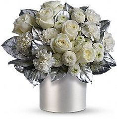 14 best new years eve centerpieces images on pinterest flower telefloras elegant evening centerpiece silver and white themed party httpwww mightylinksfo