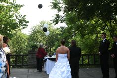 Balloon Release Ceremony at Wedding In Memory of Friends and Family That Have Passed Away.