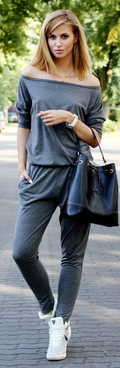 Grey, Black And White Back To School Sporty Outfit Idea by Beauty - Fashion - Shopping