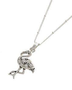 Silver Tone Metal / Casting Rhinestone / Lead&nickel Compliant / Animal / Flamingo Pendant / Necklace