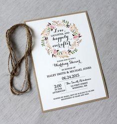 Rustic Bridal Shower Invitations Floral Bridal Shower