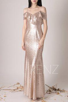 Bridesmaid Dress Tan Sequin DressWedding DressRuffle V Neck