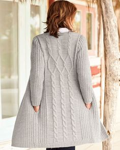 Cotton Traders Women's Longline Cable Cardigan in Gre Long Sweater Coat, Cable Cardigan, Longline Cardigan, Long Sweaters, Aran Sweaters, Knitted Coat Pattern, Cardigan Pattern, Ladies Cardigan Knitting Patterns, Coat Patterns