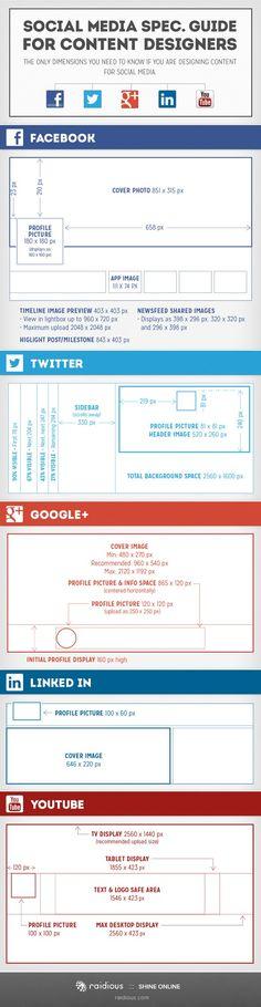 Handy Social Media Spec Guide For Designers A great guide listing image sizes for cover photos etc for Facebook, Twitter, Google+ etc. #socialmedia