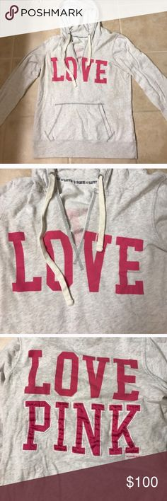 Size L VS Pink grey love hoodie jacket Size L VS Pink grey love hoodie jacket PINK Victoria's Secret Jackets & Coats