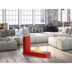 You'll quickly find the area around this Vitrim L Red Freestanding Ventless Ethanol Fireplace is your favorite place to be. This fireplace offers a bold modern look for your home and it can literally be installed in any room from the den to the living room or even the bedroom. http://ift.tt/1OHAUgF