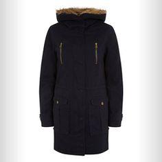 NEW LOOK: Hooded Parka Navy Faux Fur Trim Zip Front Hooded Parka. £49.99 Hooded Parka, Fur Trim, New Look, Faux Fur, Hoods, March, Zip, Navy, Shopping