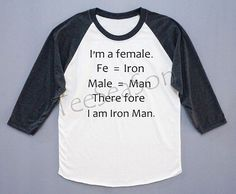 Looking for discount designer fashion? Come visit www.kpopcity.net today!!! Im A Female. Therefore I Am Iron Man. Iron Man Shirt Text Shirt Baseball Tee Long Sleeve T-Shirt Women T-Shirt Unisex T-Shirt Size L on Etsy, $18.00