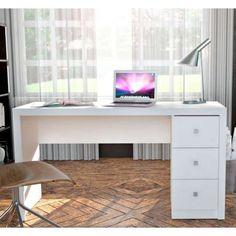 Escrivaninha com 3 Gavetas Laterais Adessa - Branco 136x47