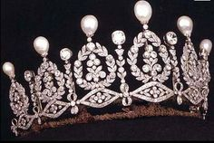 Tiara of the Dukes of Alba  This major pearl and diamond tiara was once owned by Empress Eugénie de Montijo, wife of Napoleon III