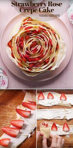 Strawberry Rose Crepe Cake Video Recipe #dessert