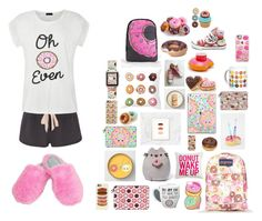 """""""Donuts! (Sleepover/Room)"""" by crazycaty11 ❤ liked on Polyvore featuring JanSport, Casetify, Eberjey, Gund, Ally Fashion, Dearfoams, Neff, Converse, Big Mouth and Wilton"""