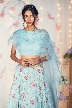 Powder Blue Chiffon Lehenga with Organza Ruffles Blouse. Hand Embroidered thread and zardosi details on the lehenga and blouse. Blouse Lehenga, Choli Dress, Lehenga Skirt, Bandhani Dress, Sari Design, Fancy Blouse Designs, Blouse Neck Designs, Designer Kurtis, Indian Designer Outfits