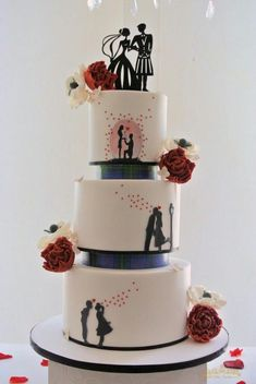 Silhouette Wedding Cake: Take 2 by Sumaiya Omar - The Cake Duchess SA - . Black And White Wedding Cake, White Wedding Cakes, Beautiful Wedding Cakes, Beautiful Cakes, Amazing Cakes, Silhouette Wedding Cake, Silhouette Cake, Cake Story, Engagement Cakes