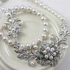White Pearl Bridal Necklace Vintage Wedding Jewelry Swarovski Crystal Flower Wedding Necklace  SABINE GARDEN