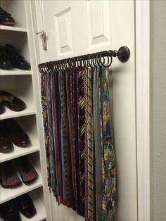 Mens walk in closet tie storage 32 Ideas Tie Storage, Scarf Storage, Closet Storage, Storage Ideas, Master Closet, Closet Bedroom, Closet Space, Tie Organization, Bedroom Organization