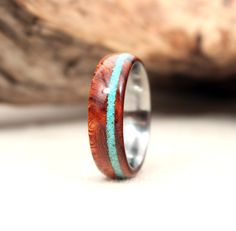 Wood with Stone Inlay Lined with Metal Ring