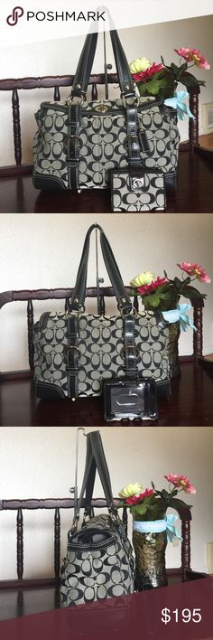 """COACH SIGNATURE CHELSEA SATCHEL WITH A MINI WALLET COACH SIGNATURE CHELSEA SATCHEL,color:black/white STYLE NO: 10986 , SIGNATURE JACQUARD  POLISHED NICKEL (SILVER) HARDWARE 100% AUTHENTIC!! RETAILS FOR $378 Details: Inside zip pocket Cellphone/multifunction pockets Ring to clip an accessory or keyfob Turnlock closure Fabric lining 15"""" adjustable straps Measures approx. 13""""x7-1/2""""x4-1/2""""  used with srcatches on the hardware,still in great conditon, it comes with matching mini wallet retail or…"""