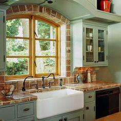 10 gran cocina menta estilo rustico fregadero bajo ventana