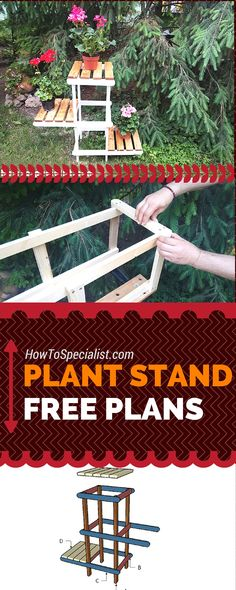 Free plant stand plans - Learn how to build a tiered plant stand with my free and easy to follow diagrams, instructions and tips! howtospecialist.com #diy #plantstand