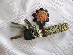 Fabric keychain with embroidered felt flower   Sewn Up by TeresaDownUnder